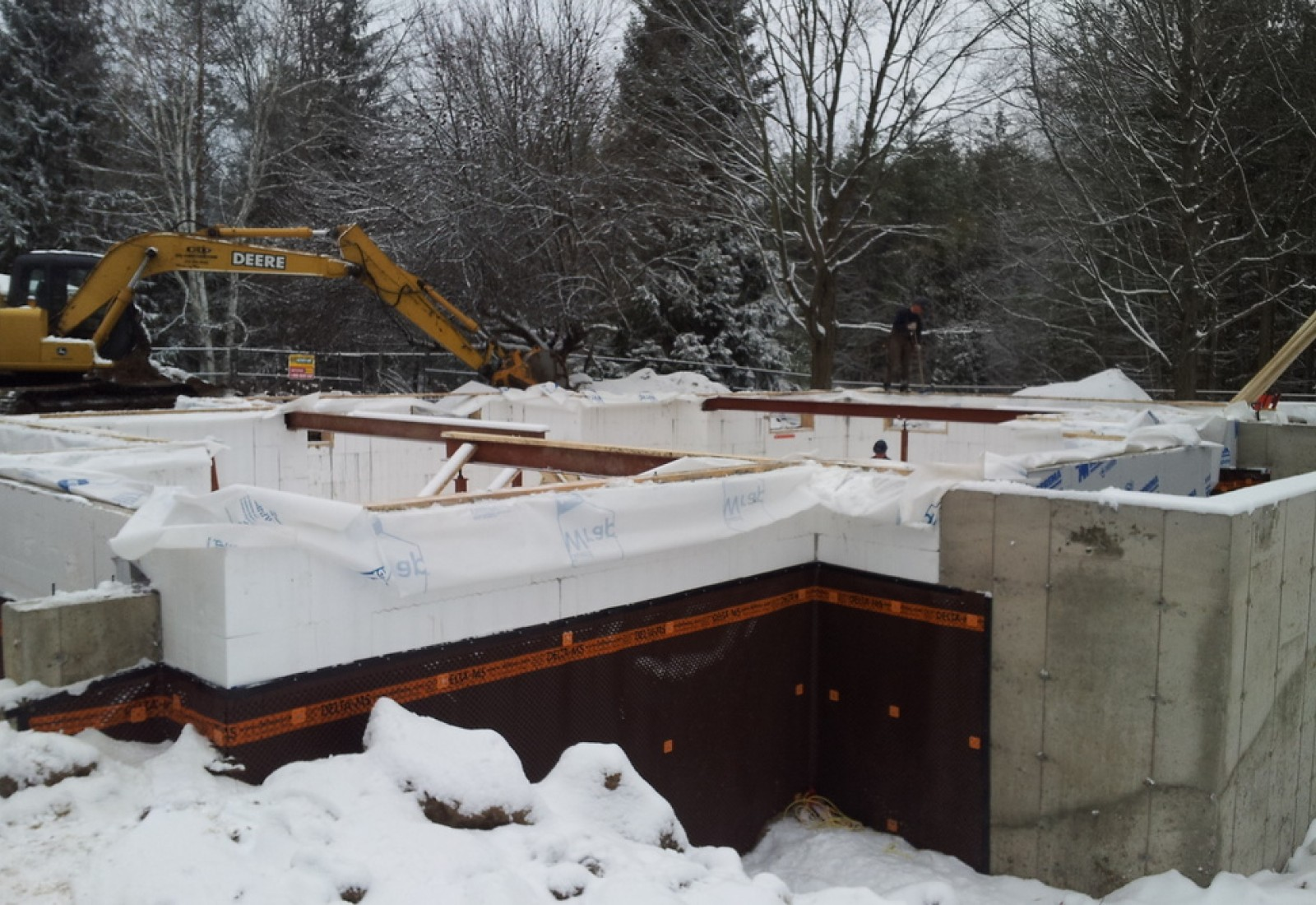 ICF forms are used on actual home, garage on far right is traditional concrete foundation